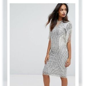 Embellished Pencil dress with Fringing